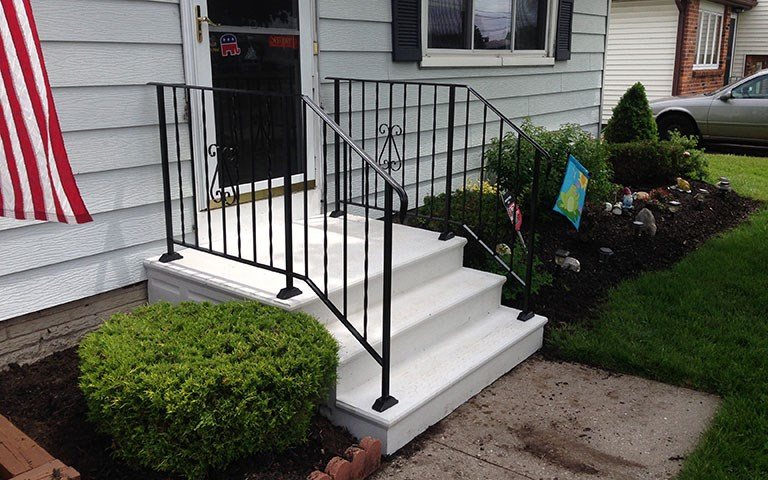 Photo Gallery Precast Concrete Steps And Iron Vinyl Railing